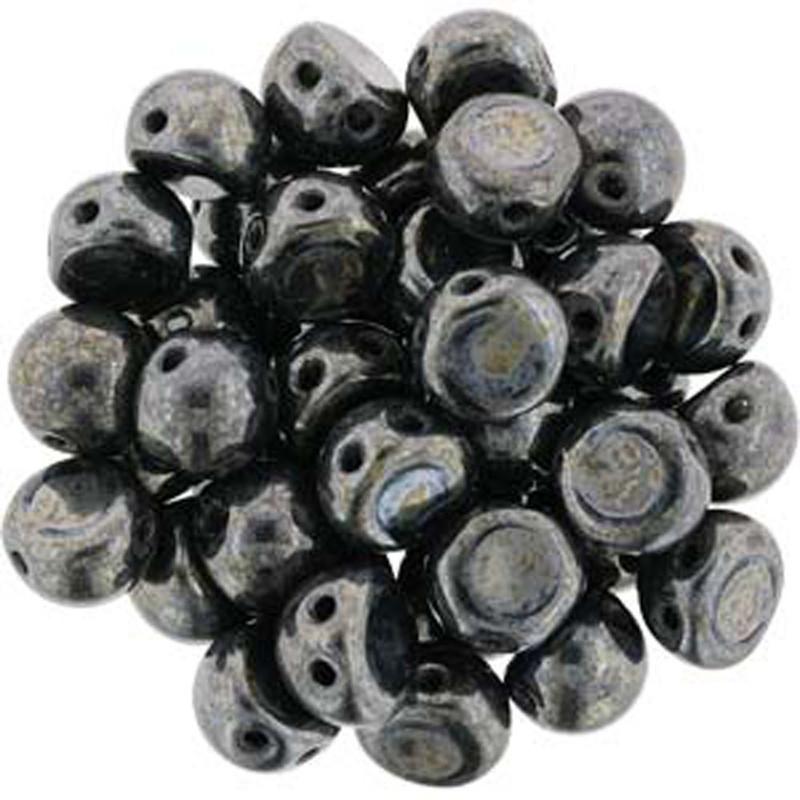 2 Hole Cabochon 7mm Hematite 20 Glass Beads