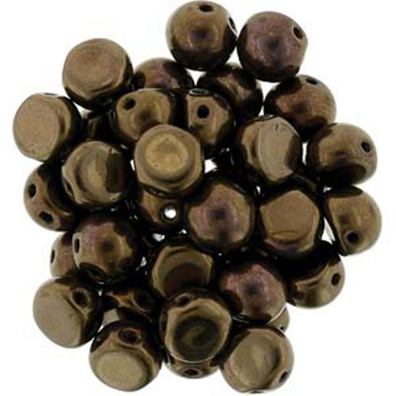 2 Hole Cabochon 7mm Dk Bronze 20 Glass Beads