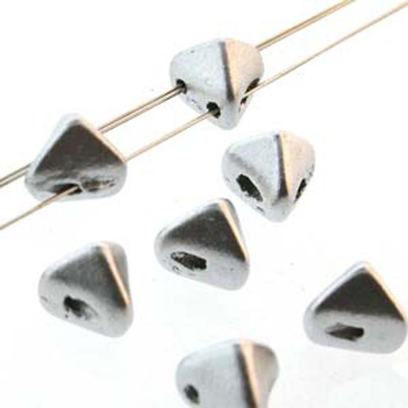 2 Hole Super Kheops 6mm Silver Alluminium Matte 30 Czech Pressed Glass Beads