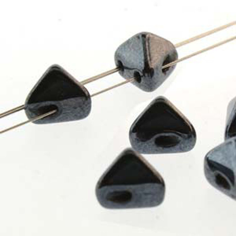 2 Hole Super Kheops 6mm Jet Hematite 30 Czech Pressed Glass Beads