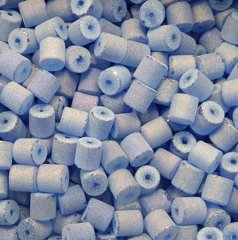Light Sapphire Blue AB Druzy Loose Glass Beads 7x8mm Barrel 24 Gram Pack