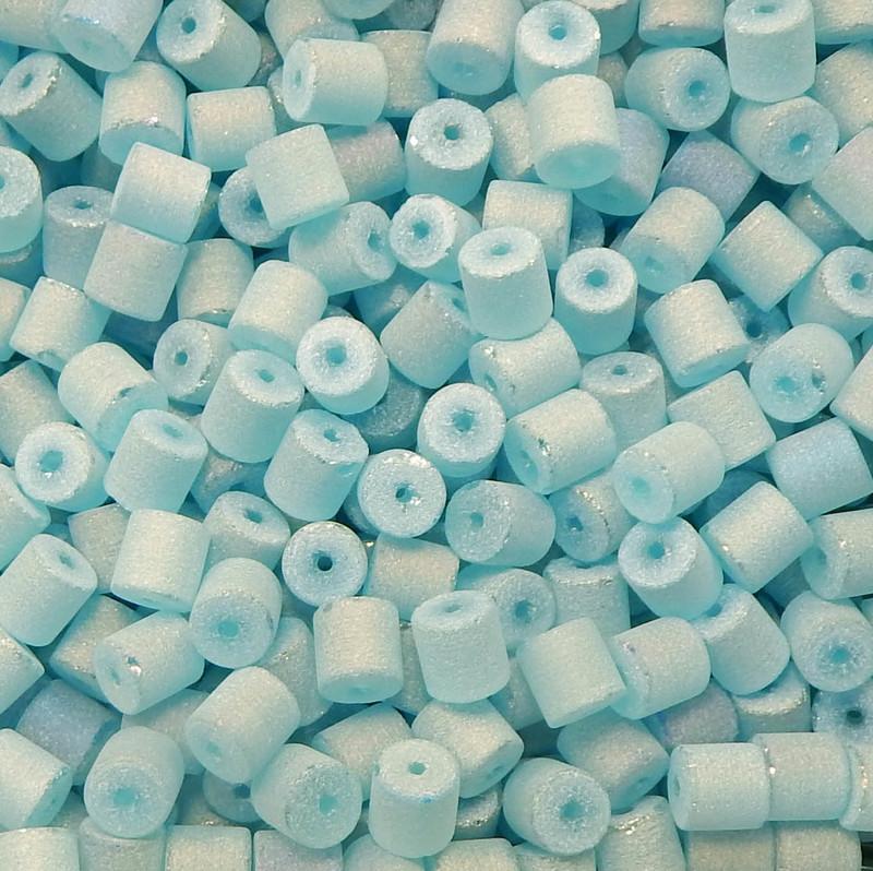 Aqua Blue AB Druzy Loose Glass Beads 7x8mm Barrel 24 Gram Pack