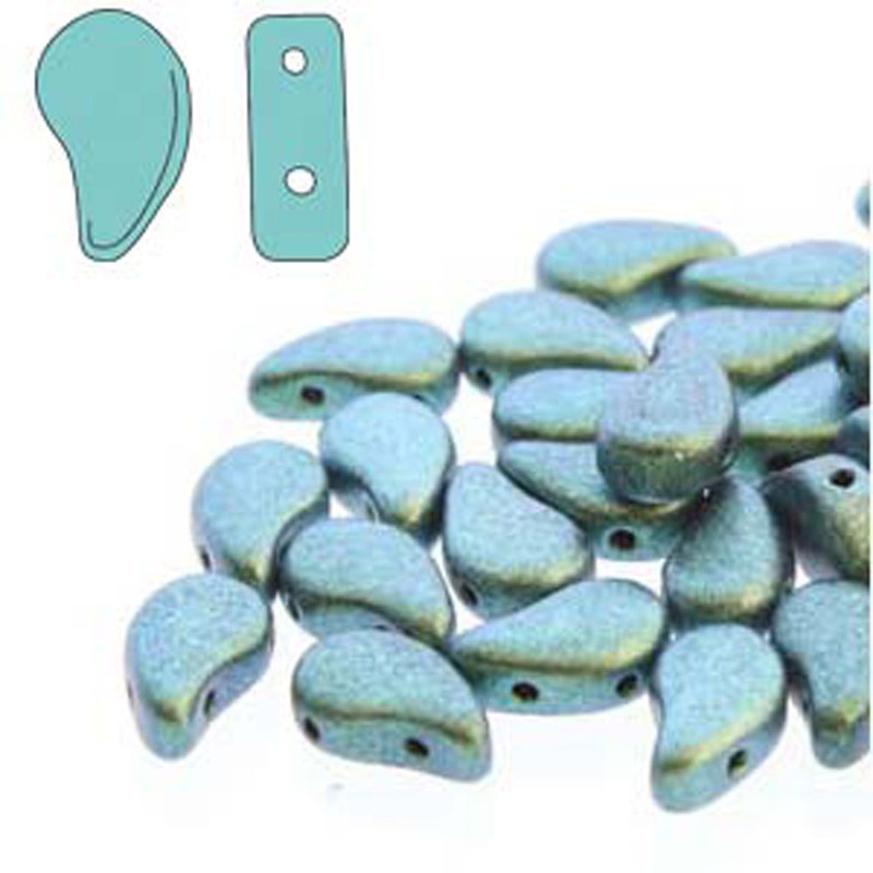Paisley Duo 2 Hole 8X5mm Polychrome Mint Chocolate 30 Czech Glass Beads