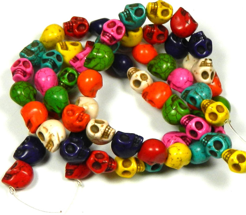 12x10mm Skull Beads Chalk Turquoise Dyed/Stabilized Mix  Beads 30""