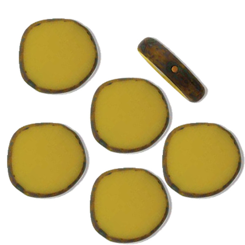 Table Cut Disc 15x15mm Opaque Yellow Picasso 9 Beads