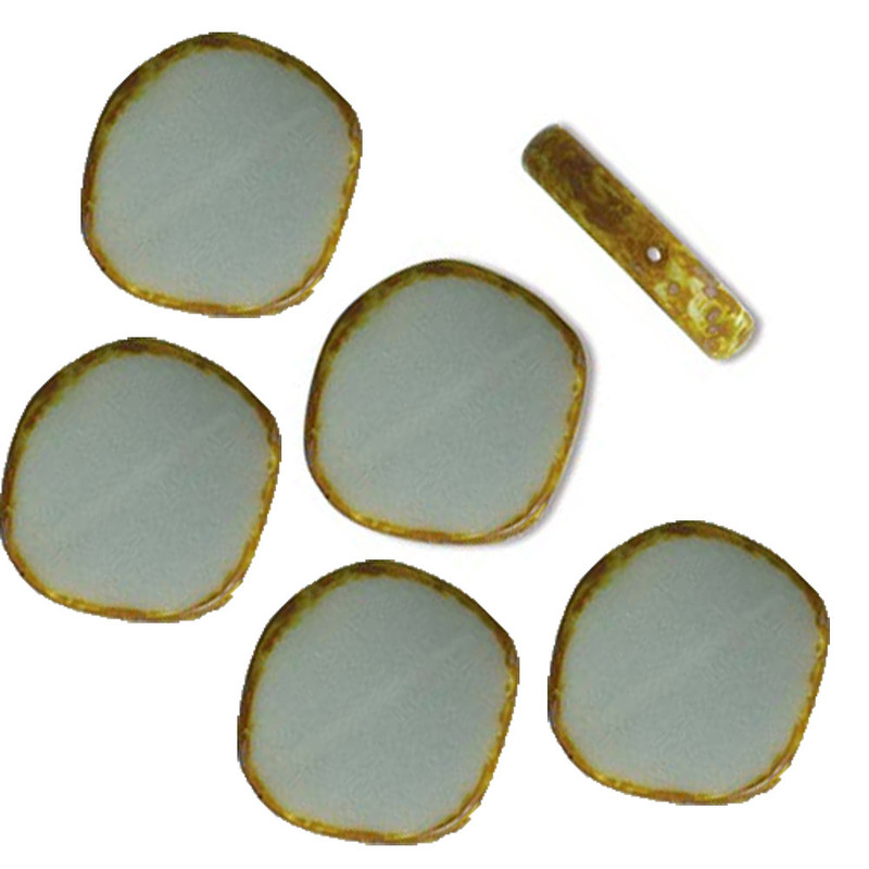 Table Cut Disc 22x22mm Opaque Grey Picasso 6 Beads