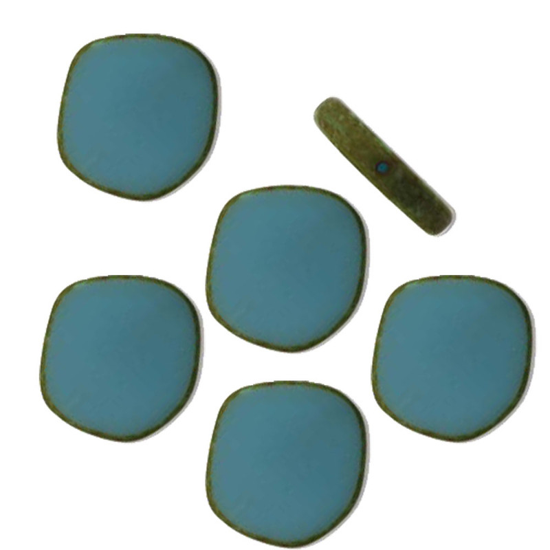 Table Cut Disc 22x22mm Opaque Sky Blue Picasso 6 Beads