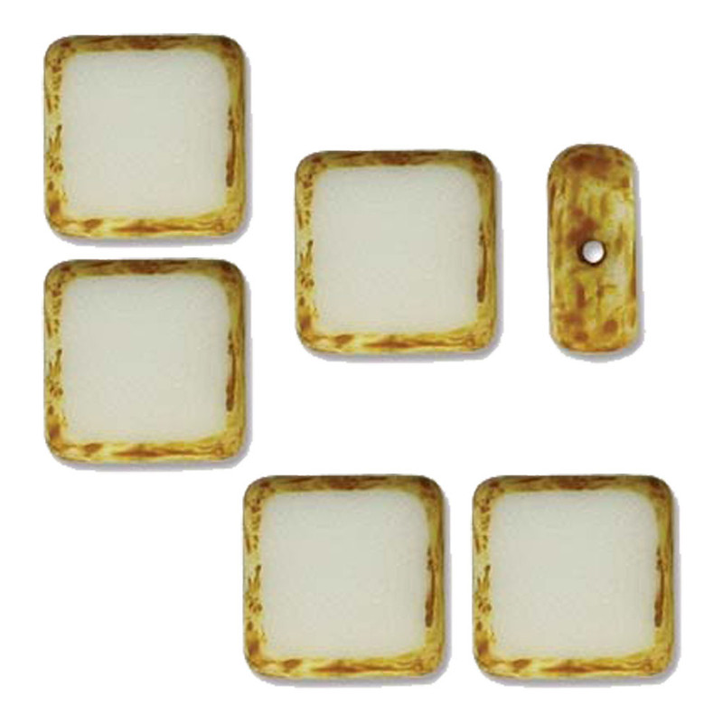 Table Cut Square 10x10mm White Picasso 14 Beads