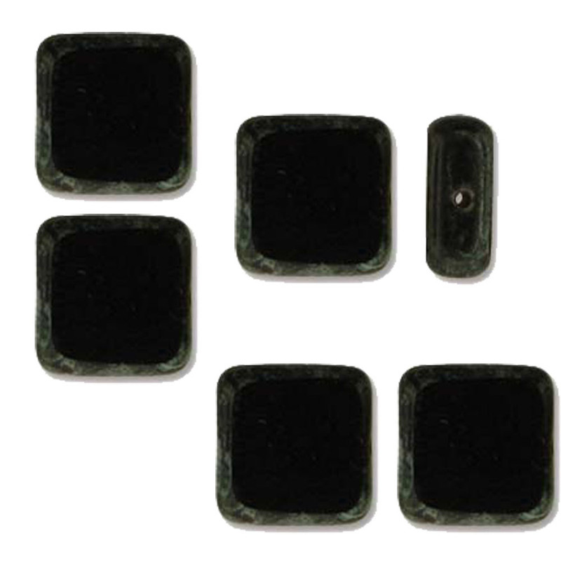 Table Cut Square 10x10mm Jet Picasso 14 Beads