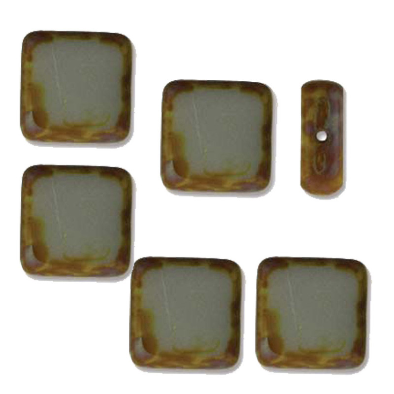 Table Cut Square 10x10mm Opaque Grey Picasso 14 Beads