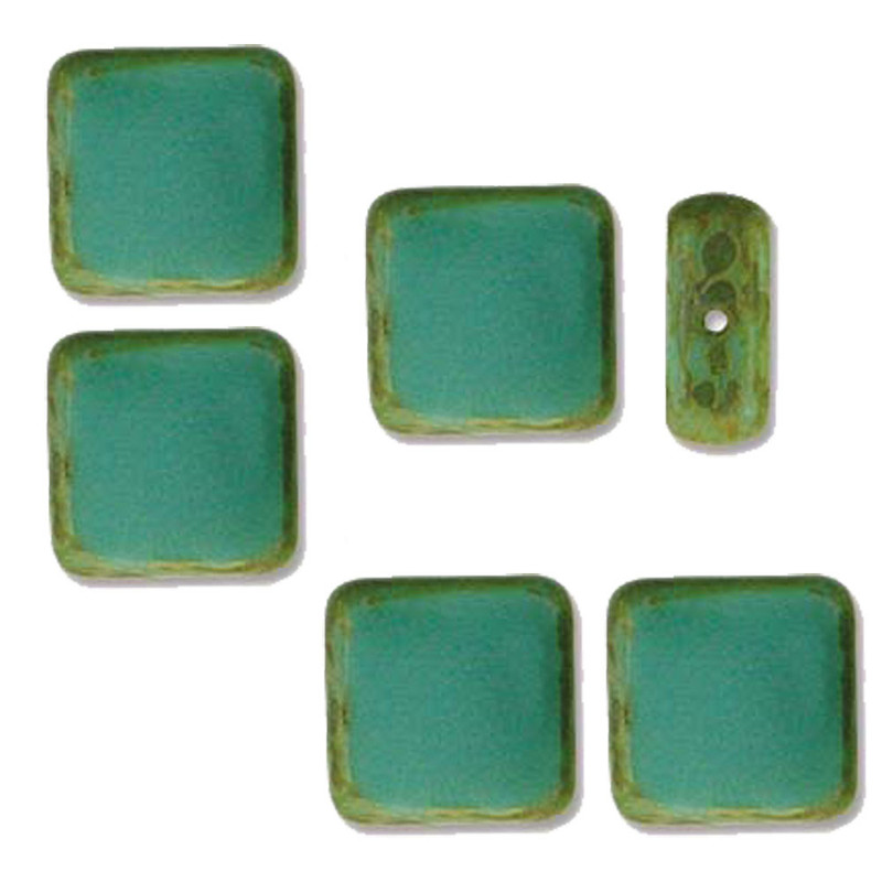 Table Cut Square 10x10mm Turquoise Picasso 14 Beads