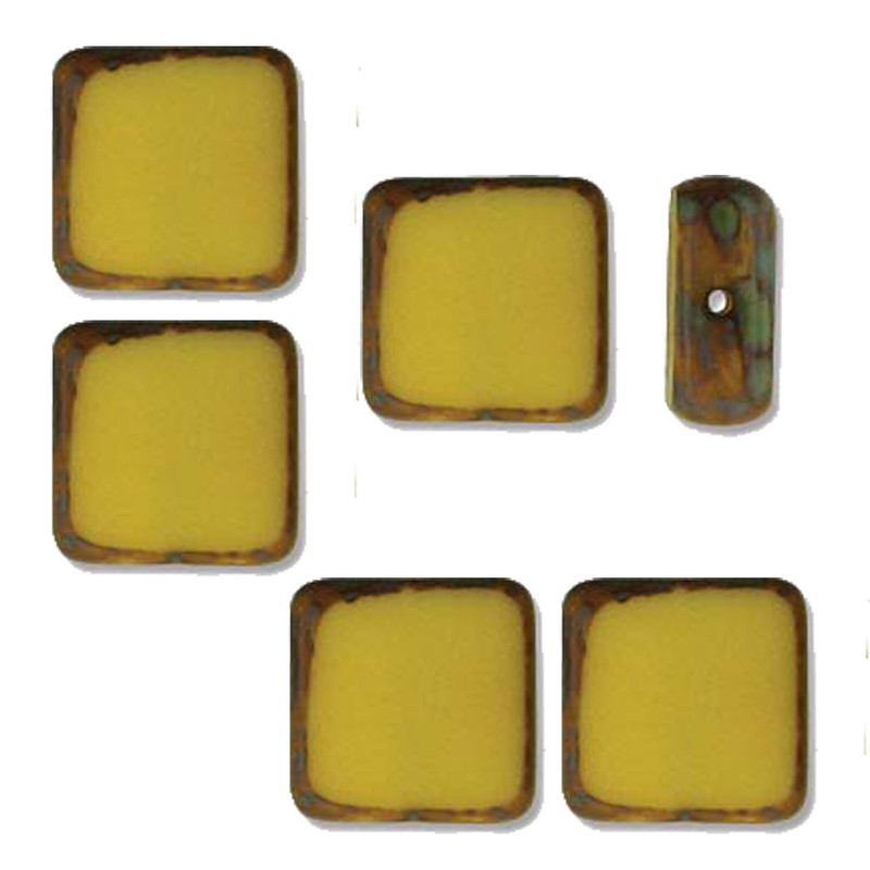 Table Cut Square 10x10mm Opaque Yellow Picasso 14 Beads