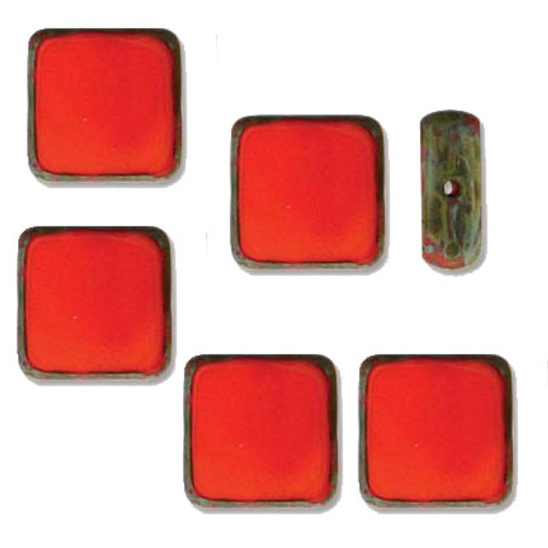 Table Cut Square 10x10mm Opaque Lt Red Picasso 14 Beads