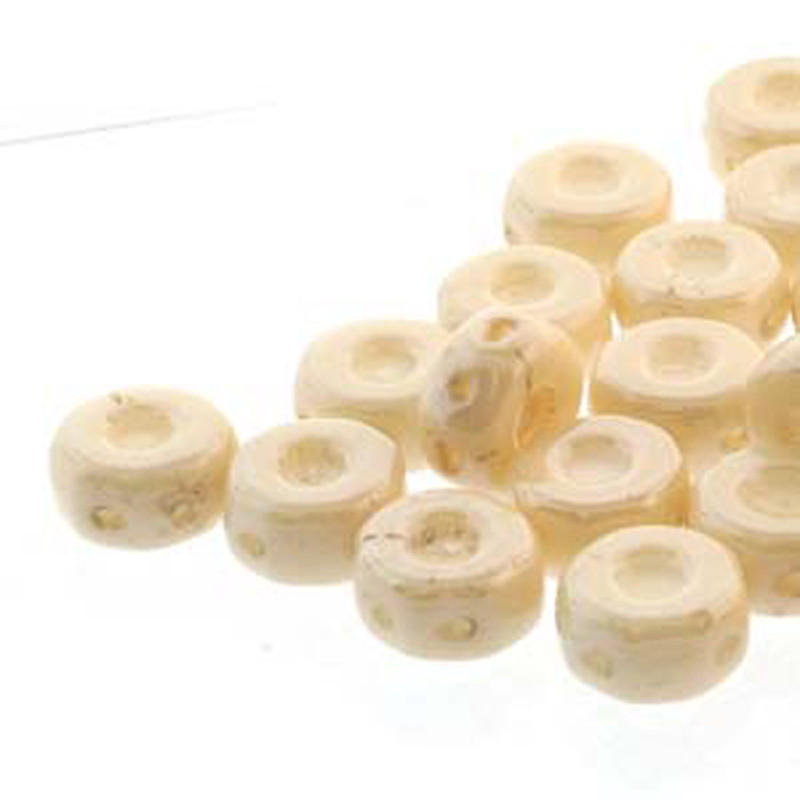 Octo 8x4mm 3-hole Coin Chalk Beige Lstr 20 Beads