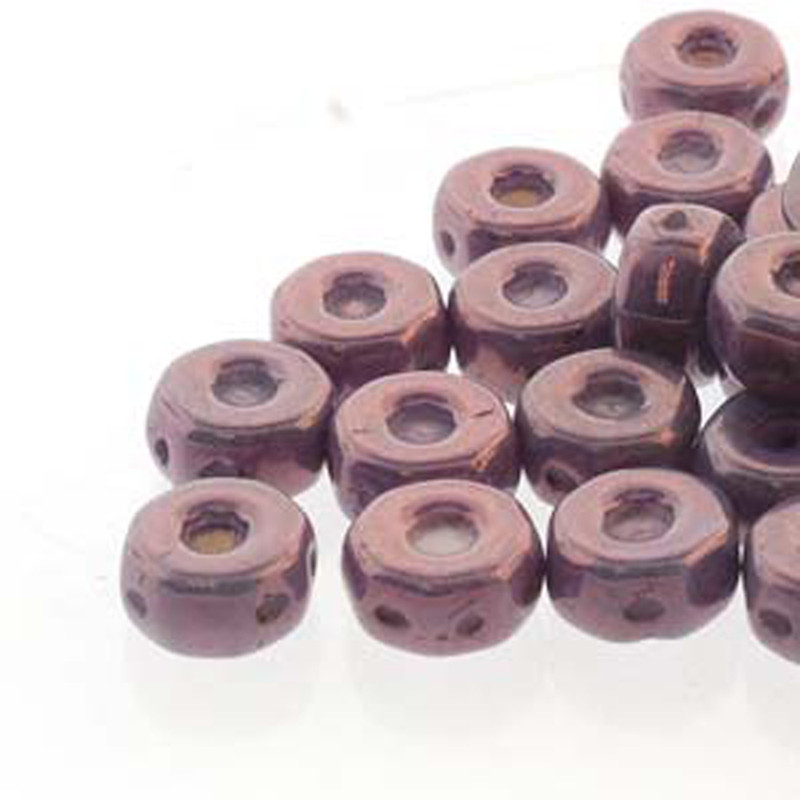 Octo 8x4mm 3-hole Coin Chalk Purple Vega 20 Beads