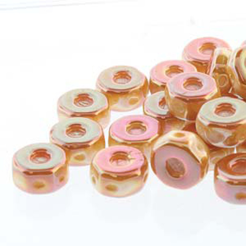 Octo 8x4mm 3-hole Coin Chalk Apricot 20 Beads