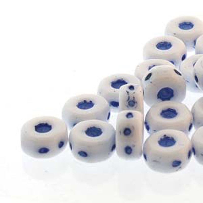 Octo 8x4mm 3-hole Coin Chalk Blue 20 Beads