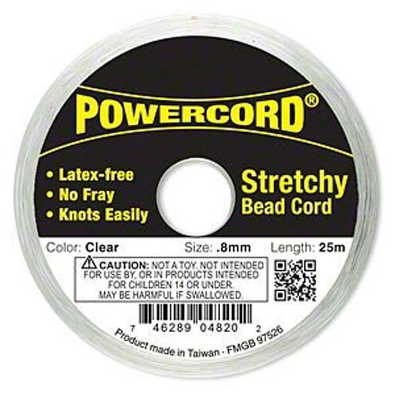 Powercord® Elastic Stretch Cord Clear 0.8mm 8.5 lb Test 25-Meter Latex-Free 1695BS