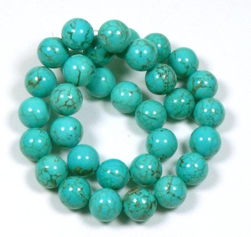 """12mm Magnesite Dyed Blue Turquoise (White Buffalo Turquoise) Beads 40cm 15"""""""