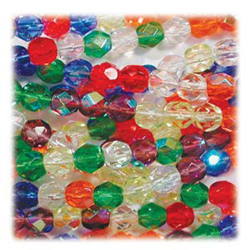 Rainbow AB Mix 48 Czech 8mm Faceted Round Firepolished Glass Beads FPR08MIX17
