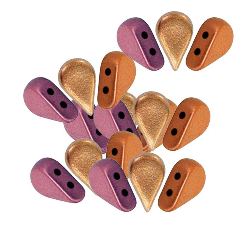 AMOS 2 hole Par Puca Czech Glass beads 5x8mm YELLOW GOLD METALLIC IRIS 30 beads