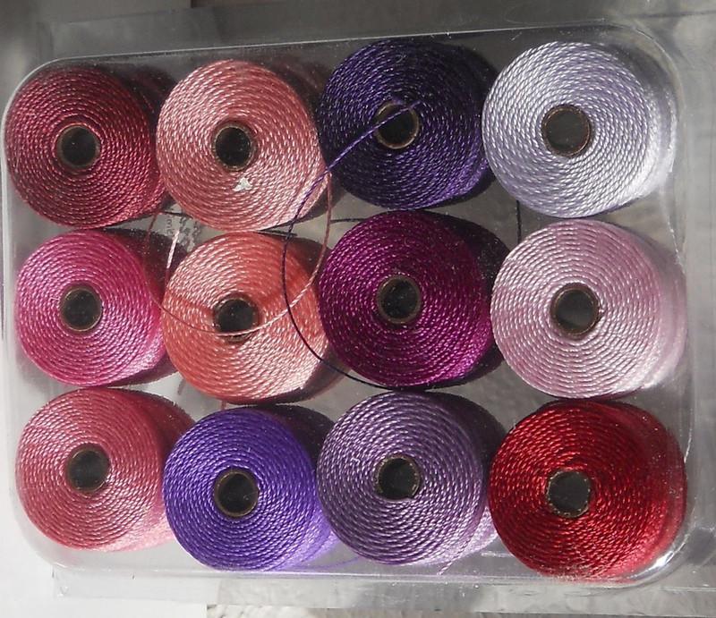 12 Super-lon #18 Nylon Beading Jewelry Stringing Cord S-lon Spring Mix