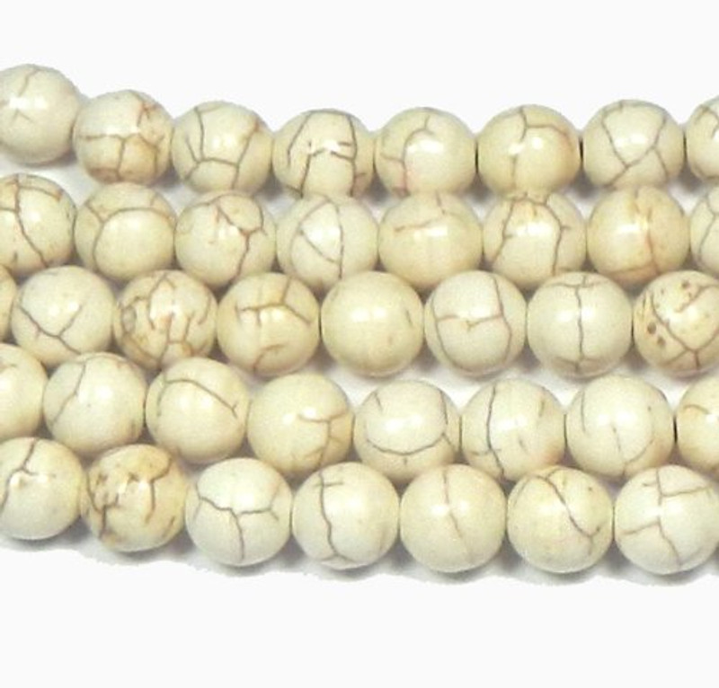 "12mm Magnesite White Buffalo Round Beads 15"" Loose Strand"