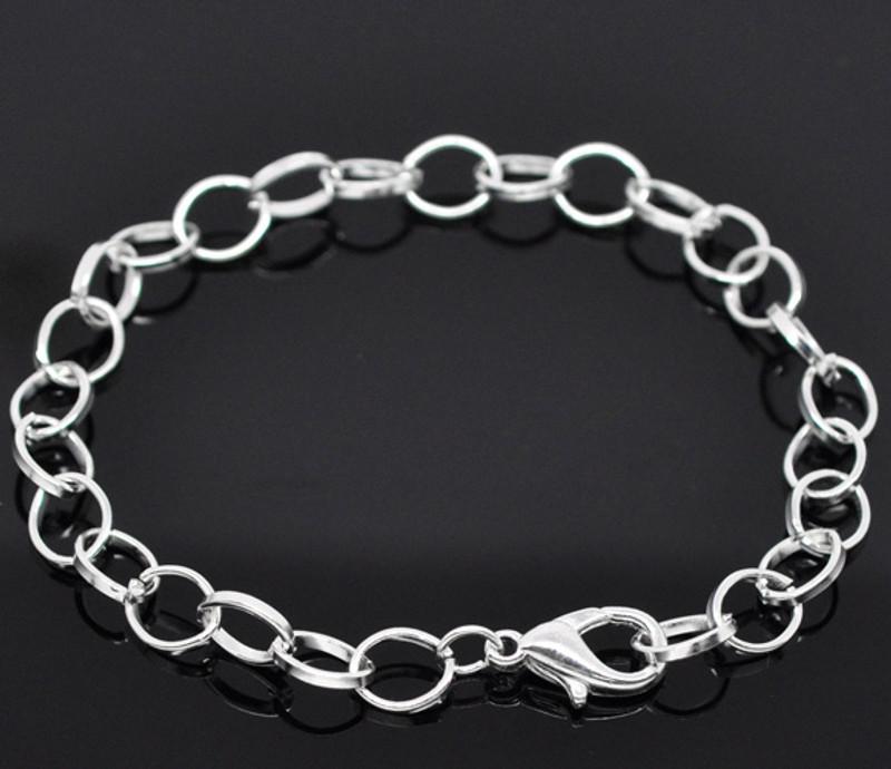 "12 7 3/4"" Shiny Silver Plated Bracelet Chains Lobster Clasp 12 Mix Bracelets RB14184"