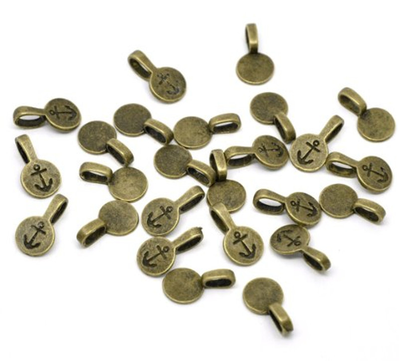 50 Antique Silver Glue on Bail 10mm Antiqued Brass/gold Plated 18x10mm RB13955