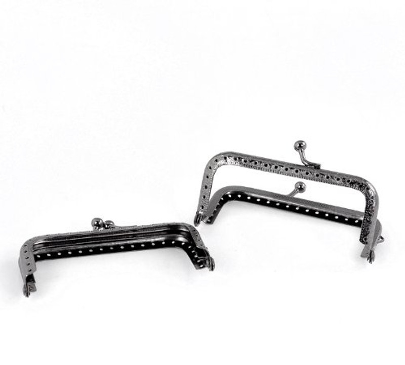 2 Gunmetal Purse Bag Metal Frame Kiss Clasp Lock 3 1/2 Inch X 2 Inch 2 Pack