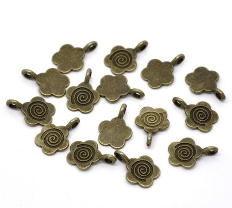 100 Flower Glue on Bail 11mm Antiqued Brass/gold Plated 11x15mm RB11348
