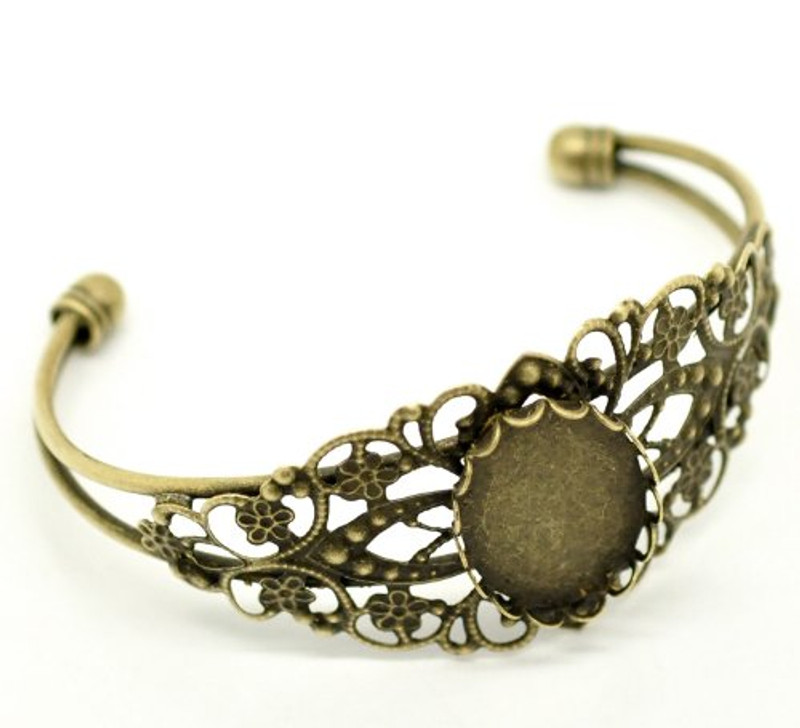 4 Antique Brass/gold Oval Cabochon Cuff Bracelet 21cm Fit 25x18mm RB18316