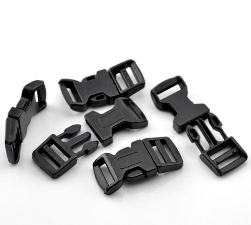 """50 Sets Black for 550 Para Cord Survival Bracelet Plastic Buckle 1 6/8x7/8"""" RB21877"""