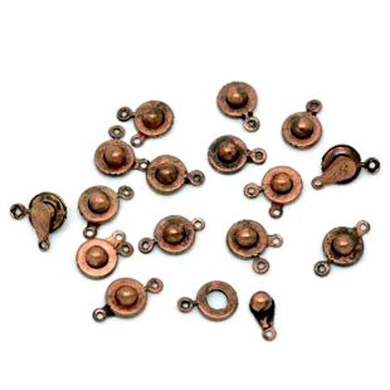 50 Antiqued Copper Plated Ball and Socket Jewelry Findings Clasps 18x10mm 50pc