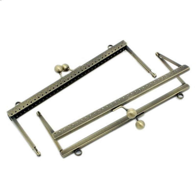 2 Antiqued Brass Purse Frame Metal Bag Kiss Clasp Lock Squared Design 8x3 Inch 2 Pack RB31728