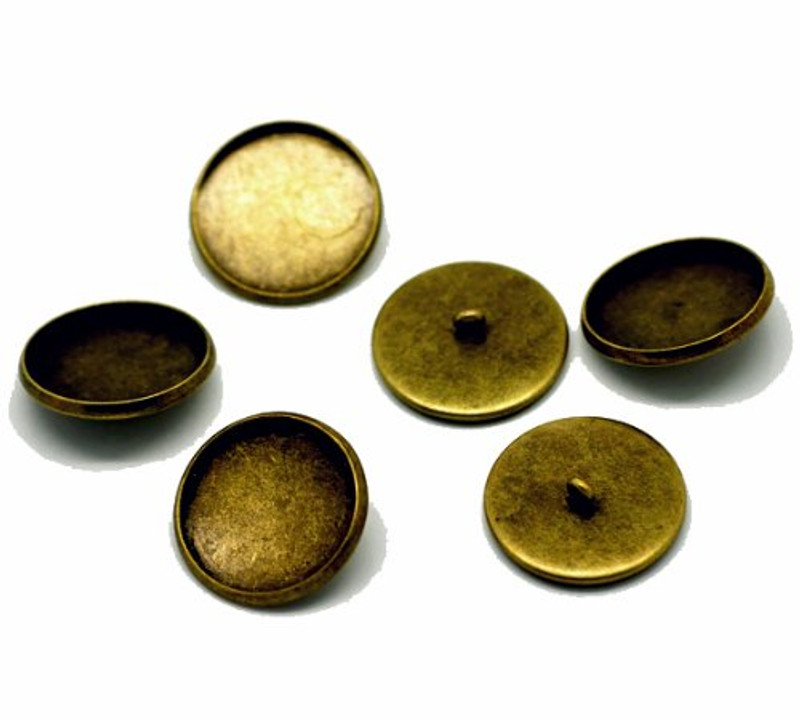 20 Antiqued Brass Plated Cabochon Setting Bezel Cup Buttons 22mm Outside (20mm Inside Cup), Sold Per Pack of 20