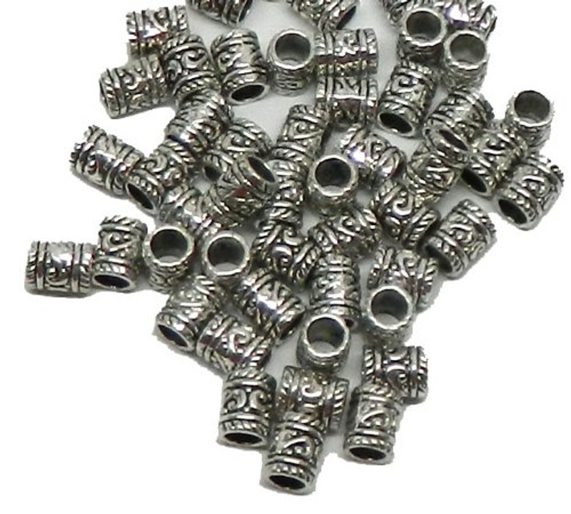 50 Tube Beads 8x10mm with 5mm Hole for European Style Charm Bracelets Spacers