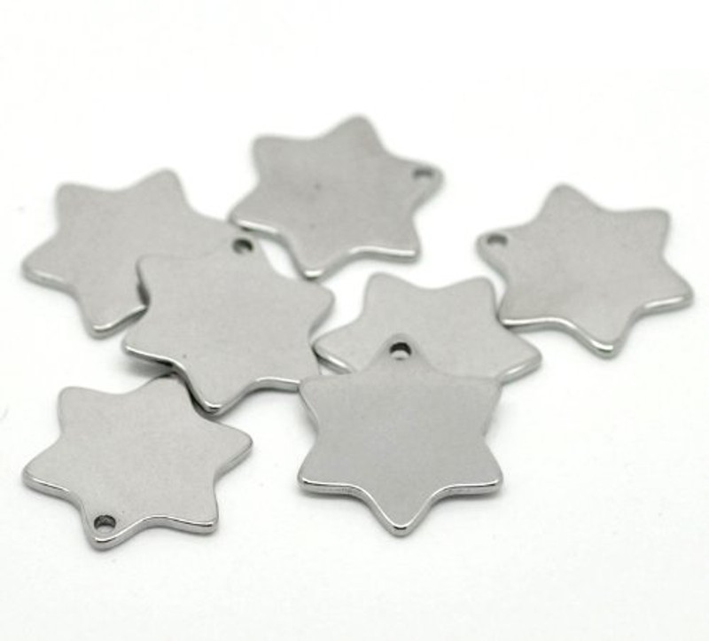 """20 304 Stainless Steel Dye Stamping Engraving Blanks Tags Star 20mmx18mm (6/8""""x 6/8"""") RB19192"""