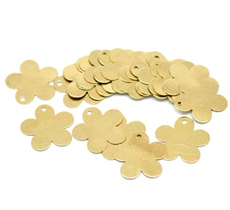 100 Solid Brass Stamping Flower Blanks with Hole Disk Tag Pendants 17mm 5/8 Inch Require Polishing Inch