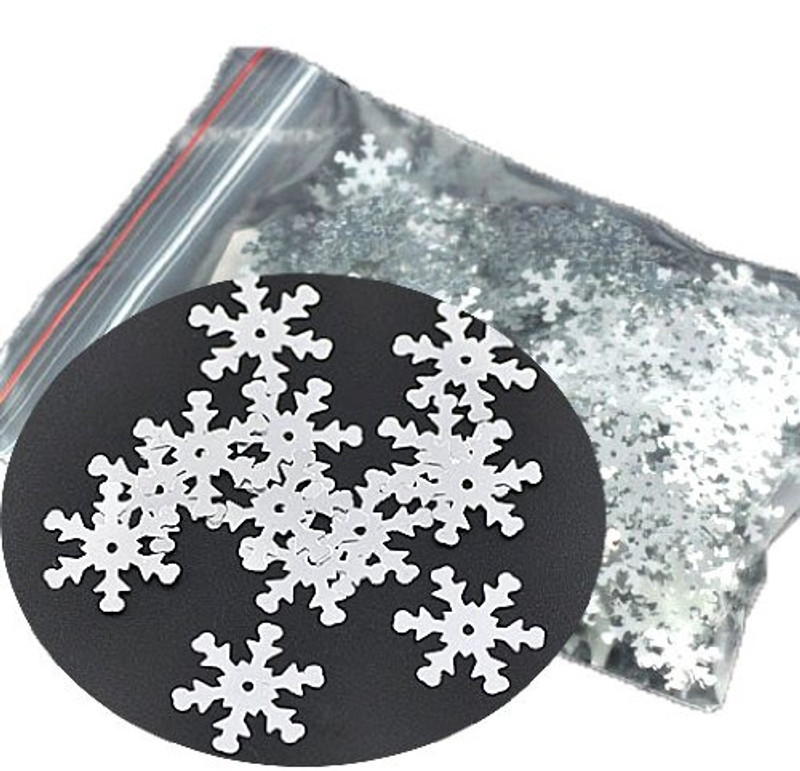 1000 Silver Snowflake Sequins for Sewing Card Making Scrapbooking Crafts 19mm
