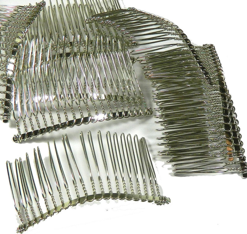 "48 Steel/nickel Tone Metal Hair Comb Beading Hair Clips 3-1/8""x1-1/2"""