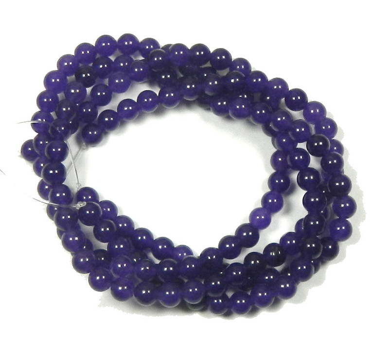 """6mm Amethyst Dyed Round Beads 30"""" Stone"""