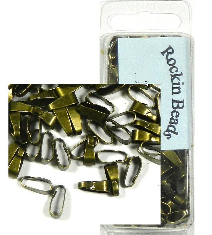 250 Antique Brass/gold Clip on Jewelry Bails 11x4mm Connectors