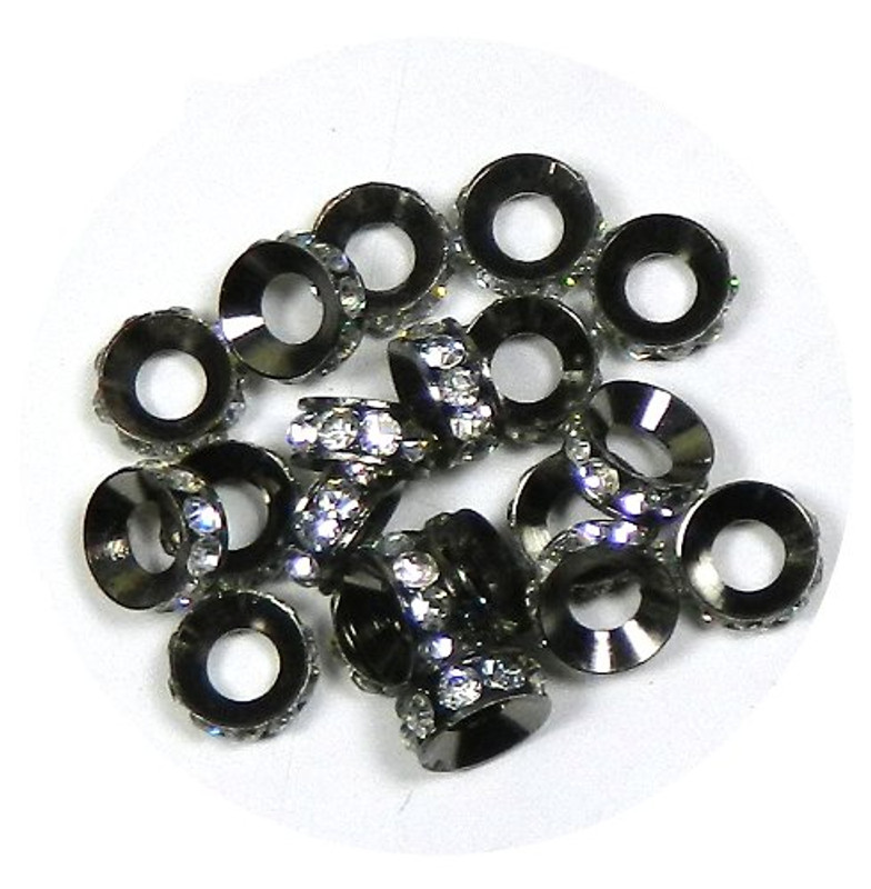 20 Rhinestone Aluminum Metal Rondelle Spacer Beads 10x4mm Clear Crystal Stones on Black with 5mm Hole Fit European Style Easy Bead Chain RB09501