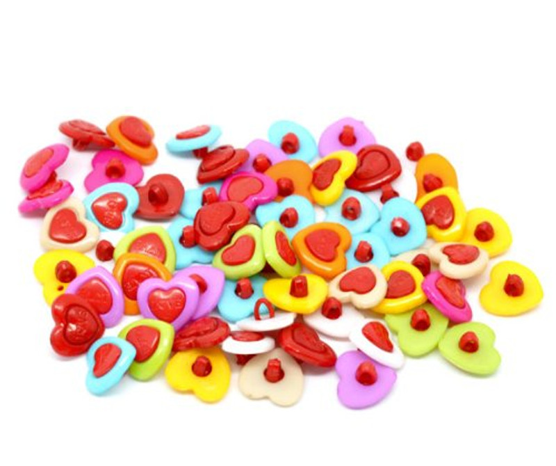 200 Mixed Colors Acrylic Heart Sewing Shank Buttons Scrapbooking 15mm, Sold Per Pack of 200
