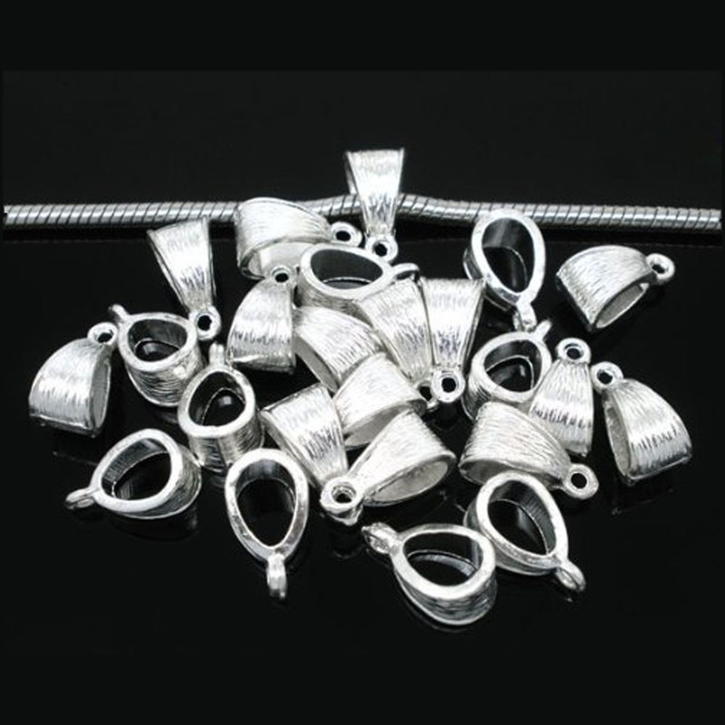 50 Pendant Bails Bead Hangers Bright Silver Silver 5 5mm Hole 14x7mm RB05751