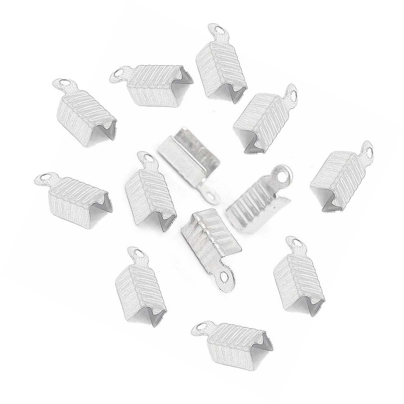 1000 Fold Over Cord Tip/ends Crimps Shiny Silver Plated 12x5mm