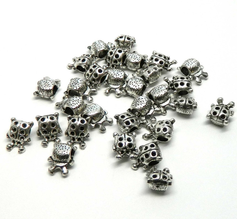 28 Ladybug Charm Beads 14x11mm with 3.8mm Hole