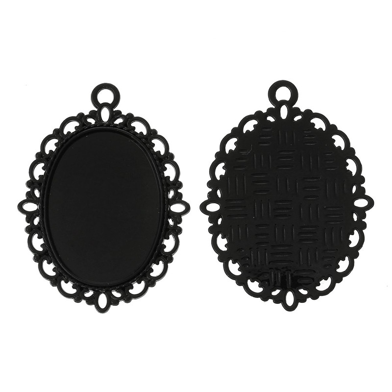 10 Black Plated Zinc Oval Cabochon Setting Pendant 39x29mm Fit 25x18mm Cab