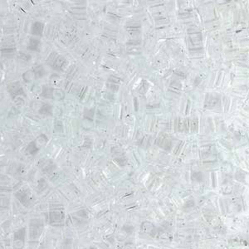 Crystal Clear Half Tila Beads 7.2 Gram Miuki Square 5mm 2 hole